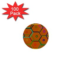 Color Bee Hive Color Bee Hive Pattern 1  Mini Buttons (100 Pack)