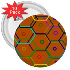 Color Bee Hive Color Bee Hive Pattern 3  Buttons (10 pack)