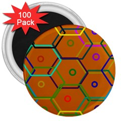 Color Bee Hive Color Bee Hive Pattern 3  Magnets (100 Pack)