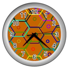 Color Bee Hive Color Bee Hive Pattern Wall Clocks (Silver)