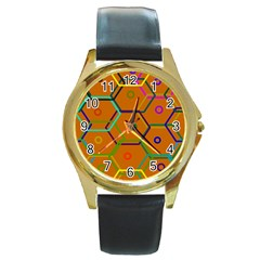 Color Bee Hive Color Bee Hive Pattern Round Gold Metal Watch