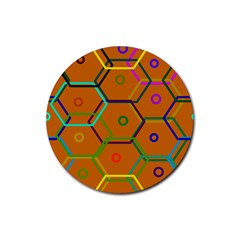 Color Bee Hive Color Bee Hive Pattern Rubber Coaster (Round)