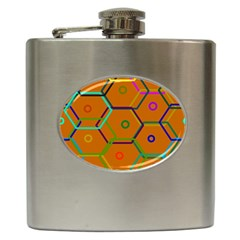 Color Bee Hive Color Bee Hive Pattern Hip Flask (6 Oz)