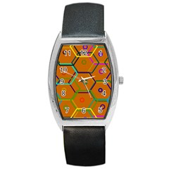 Color Bee Hive Color Bee Hive Pattern Barrel Style Metal Watch