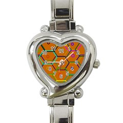 Color Bee Hive Color Bee Hive Pattern Heart Italian Charm Watch