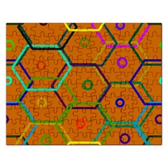 Color Bee Hive Color Bee Hive Pattern Rectangular Jigsaw Puzzl