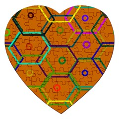 Color Bee Hive Color Bee Hive Pattern Jigsaw Puzzle (heart)