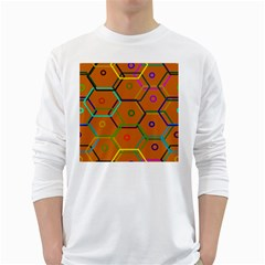 Color Bee Hive Color Bee Hive Pattern White Long Sleeve T-Shirts