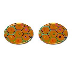 Color Bee Hive Color Bee Hive Pattern Cufflinks (oval)
