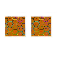 Color Bee Hive Color Bee Hive Pattern Cufflinks (Square)