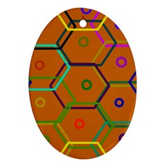 Color Bee Hive Color Bee Hive Pattern Oval Ornament (Two Sides)