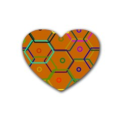 Color Bee Hive Color Bee Hive Pattern Heart Coaster (4 pack)