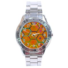 Color Bee Hive Color Bee Hive Pattern Stainless Steel Analogue Watch