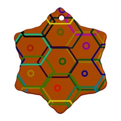 Color Bee Hive Color Bee Hive Pattern Snowflake Ornament (Two Sides)