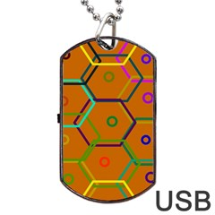 Color Bee Hive Color Bee Hive Pattern Dog Tag USB Flash (One Side)