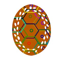 Color Bee Hive Color Bee Hive Pattern Ornament (Oval Filigree)