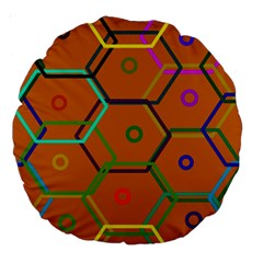 Color Bee Hive Color Bee Hive Pattern Large 18  Premium Round Cushions