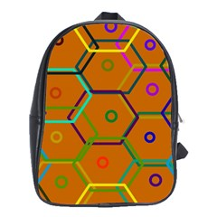 Color Bee Hive Color Bee Hive Pattern School Bags (XL)