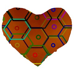 Color Bee Hive Color Bee Hive Pattern Large 19  Premium Heart Shape Cushions