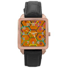 Color Bee Hive Color Bee Hive Pattern Rose Gold Leather Watch