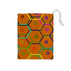 Color Bee Hive Color Bee Hive Pattern Drawstring Pouches (medium)
