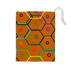 Color Bee Hive Color Bee Hive Pattern Drawstring Pouches (large)