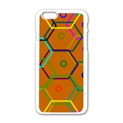 Color Bee Hive Color Bee Hive Pattern Apple Iphone 6/6s White Enamel Case