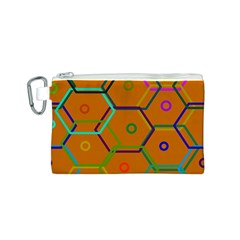 Color Bee Hive Color Bee Hive Pattern Canvas Cosmetic Bag (S)