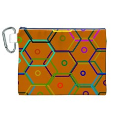Color Bee Hive Color Bee Hive Pattern Canvas Cosmetic Bag (xl)