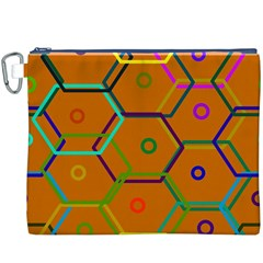 Color Bee Hive Color Bee Hive Pattern Canvas Cosmetic Bag (XXXL)