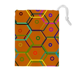 Color Bee Hive Color Bee Hive Pattern Drawstring Pouches (Extra Large)
