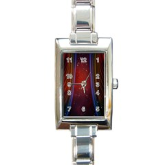 Bright Background With Stars And Air Curtains Rectangle Italian Charm Watch