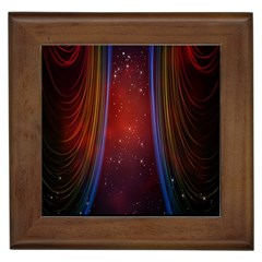 Bright Background With Stars And Air Curtains Framed Tiles