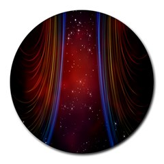 Bright Background With Stars And Air Curtains Round Mousepads