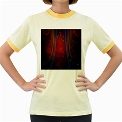 Bright Background With Stars And Air Curtains Women s Fitted Ringer T-Shirts