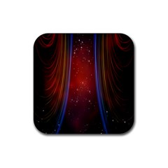 Bright Background With Stars And Air Curtains Rubber Coaster (Square)
