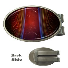 Bright Background With Stars And Air Curtains Money Clips (oval)