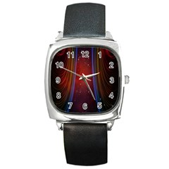 Bright Background With Stars And Air Curtains Square Metal Watch