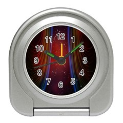 Bright Background With Stars And Air Curtains Travel Alarm Clocks