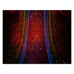 Bright Background With Stars And Air Curtains Rectangular Jigsaw Puzzl