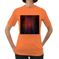 Bright Background With Stars And Air Curtains Women s Dark T-Shirt