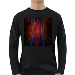 Bright Background With Stars And Air Curtains Long Sleeve Dark T Shirts