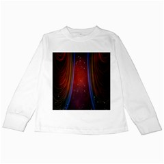 Bright Background With Stars And Air Curtains Kids Long Sleeve T Shirts