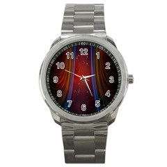 Bright Background With Stars And Air Curtains Sport Metal Watch