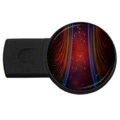 Bright Background With Stars And Air Curtains USB Flash Drive Round (4 GB)