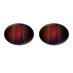 Bright Background With Stars And Air Curtains Cufflinks (oval)