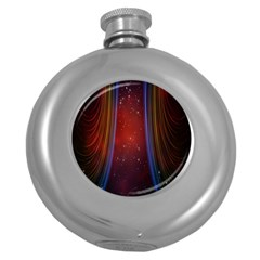 Bright Background With Stars And Air Curtains Round Hip Flask (5 Oz)