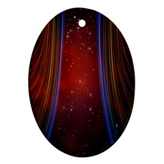 Bright Background With Stars And Air Curtains Oval Ornament (Two Sides)