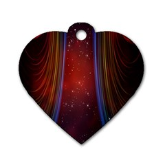 Bright Background With Stars And Air Curtains Dog Tag Heart (two Sides)