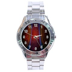 Bright Background With Stars And Air Curtains Stainless Steel Analogue Watch
